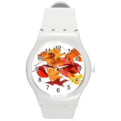 Autumn Leaves Leaf Transparent Round Plastic Sport Watch (m)