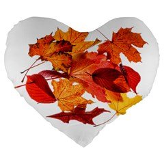 Autumn Leaves Leaf Transparent Large 19  Premium Heart Shape Cushions