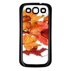 Autumn Leaves Leaf Transparent Samsung Galaxy S3 Back Case (black)