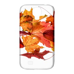 Autumn Leaves Leaf Transparent Samsung Galaxy S4 Classic Hardshell Case (pc+silicone)