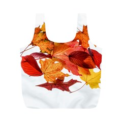 Autumn Leaves Leaf Transparent Full Print Recycle Bags (m)
