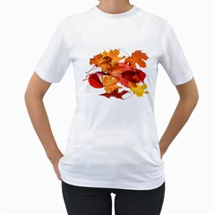 Autumn Leaves Leaf Transparent Women s T Shirt (white)