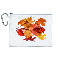 Autumn Leaves Leaf Transparent Canvas Cosmetic Bag (xl)