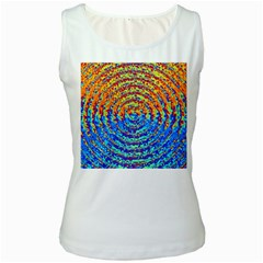 Background Color Game Pattern Women s White Tank Top