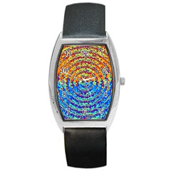 Background Color Game Pattern Barrel Style Metal Watch