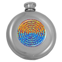 Background Color Game Pattern Round Hip Flask (5 Oz)