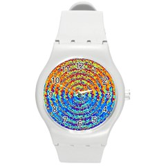 Background Color Game Pattern Round Plastic Sport Watch (m)