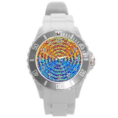 Background Color Game Pattern Round Plastic Sport Watch (l)