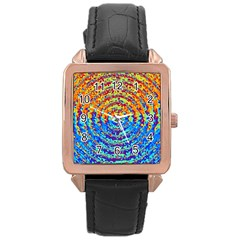 Background Color Game Pattern Rose Gold Leather Watch
