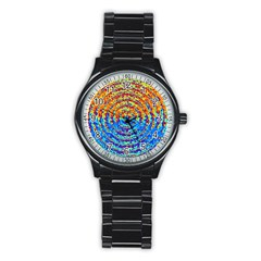 Background Color Game Pattern Stainless Steel Round Watch