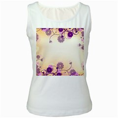 Background Floral Background Women s White Tank Top