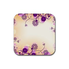 Background Floral Background Rubber Square Coaster (4 Pack)
