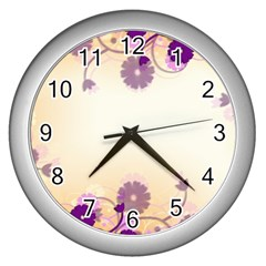 Background Floral Background Wall Clocks (silver)