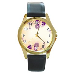 Background Floral Background Round Gold Metal Watch