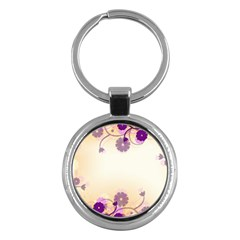 Background Floral Background Key Chains (round)