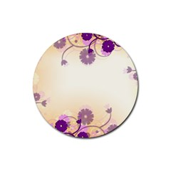 Background Floral Background Rubber Round Coaster (4 Pack)