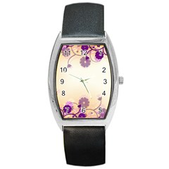 Background Floral Background Barrel Style Metal Watch