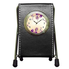 Background Floral Background Pen Holder Desk Clocks