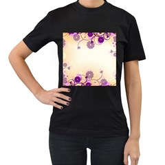 Background Floral Background Women s T Shirt (black) (two Sided)