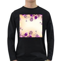 Background Floral Background Long Sleeve Dark T Shirts