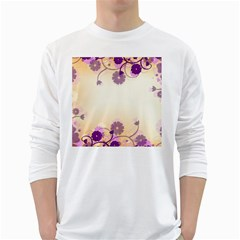 Background Floral Background White Long Sleeve T Shirts