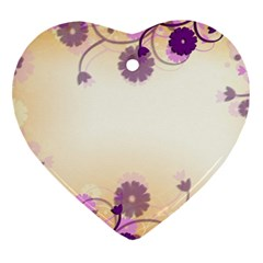 Background Floral Background Heart Ornament (two Sides)