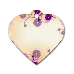 Background Floral Background Dog Tag Heart (one Side)