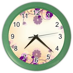 Background Floral Background Color Wall Clocks