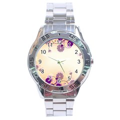 Background Floral Background Stainless Steel Analogue Watch