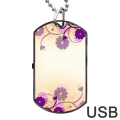Background Floral Background Dog Tag Usb Flash (one Side)
