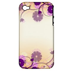 Background Floral Background Apple Iphone 4/4s Hardshell Case (pc+silicone)