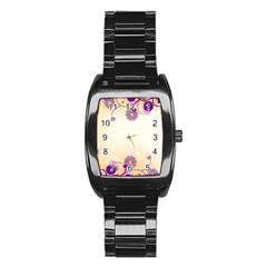 Background Floral Background Stainless Steel Barrel Watch