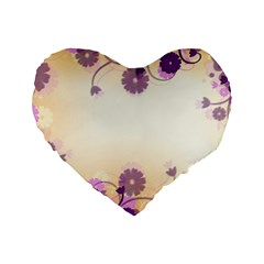 Background Floral Background Standard 16  Premium Flano Heart Shape Cushions