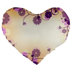 Background Floral Background Large 19  Premium Flano Heart Shape Cushions