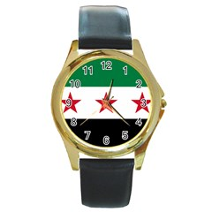 Flag Of Syria Round Gold Metal Watch