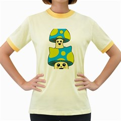 Meowshroom Women s Fitted Ringer T Shirts