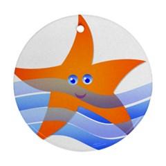Beach Sea Sea Shell Swimming Ornament (round)