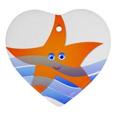 Beach Sea Sea Shell Swimming Ornament (heart)