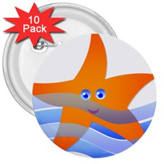 Beach Sea Sea Shell Swimming 3  Buttons (10 Pack)