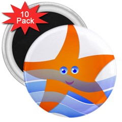Beach Sea Sea Shell Swimming 3  Magnets (10 Pack)