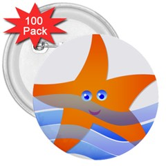 Beach Sea Sea Shell Swimming 3  Buttons (100 Pack)