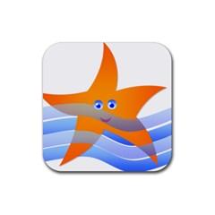 Beach Sea Sea Shell Swimming Rubber Square Coaster (4 Pack)