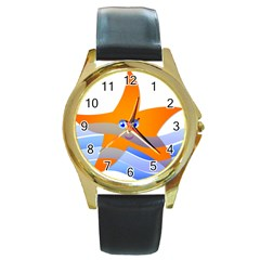 Beach Sea Sea Shell Swimming Round Gold Metal Watch