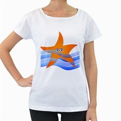 Beach Sea Sea Shell Swimming Women s Loose Fit T Shirt (white)