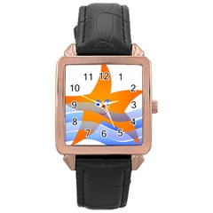 Beach Sea Sea Shell Swimming Rose Gold Leather Watch