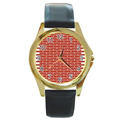 Brick Lake Dusia Texture Round Gold Metal Watch