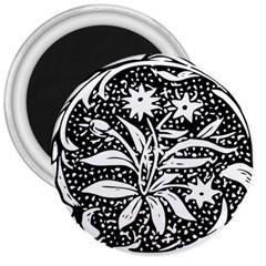 Decoration Pattern Design Flower 3  Magnets