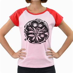 Decoration Pattern Design Flower Women s Cap Sleeve T Shirt