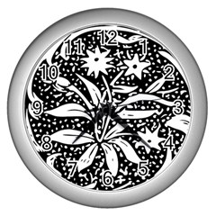 Decoration Pattern Design Flower Wall Clocks (silver)