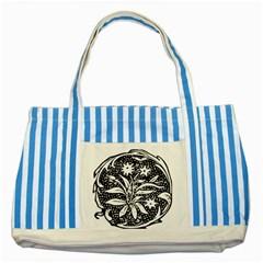Decoration Pattern Design Flower Striped Blue Tote Bag